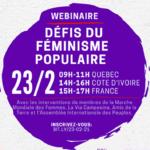 """Le 23/02, participe au webinaire """"Les défis du féminisme populaire""""."""