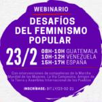 """El día 23/02, participa del webinario """"Desafíos del feminismo popular"""""""